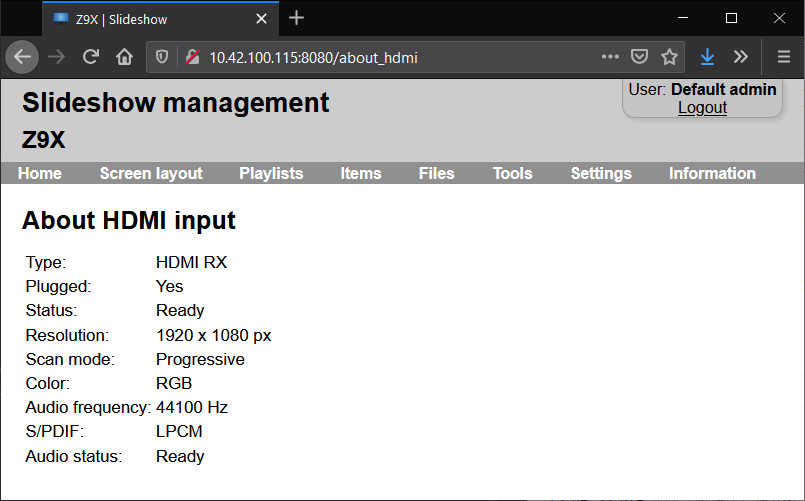 Details about HDMI input in Slideshow's web interface
